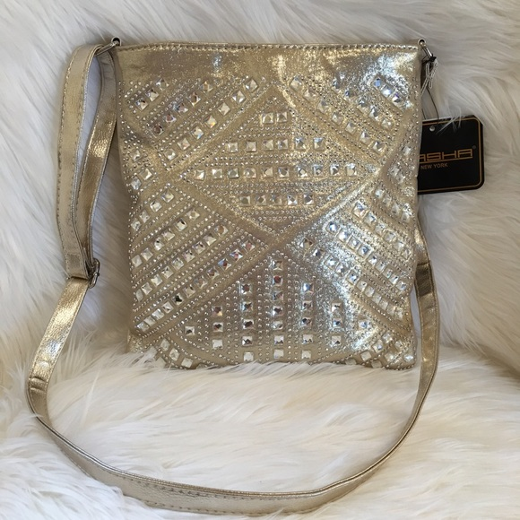 Gold shoulder bag bling metallic purse rhinestone