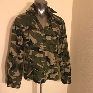 Cotton Express Tops - Camouflage Button Front Shirt
