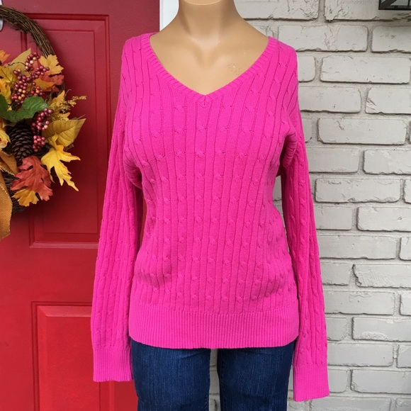 73% off St. John's Bay Sweaters - Hot pink v-neck Spring sweater ...