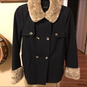 Topshop Jackets & Blazers - Topshop navy peacoat with faux fur trim
