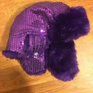 Other - Purple Fake Fur sequined Trapper Hat Girls 4-7