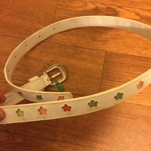 Accessories - White Leather Belt with Sparkly colorful stars