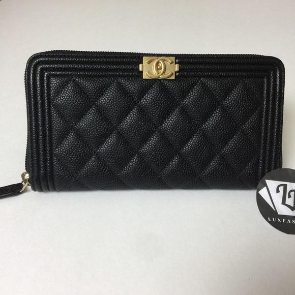 a7518ae57bb78b CHANEL Bags | Boy Long Zip Around Wallet Black Caviar Gh | Poshmark
