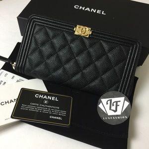CHANEL Handbags - Chanel Boy Long Zip Around Wallet Black Caviar GH