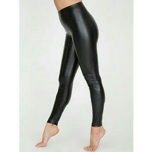 American Apparel Pants - American Apparel Vegan Leather Ankle Zip Leggings