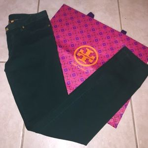 Tory Burch Denim - Tory Burch Ivy Super Skinny Jeans- Emerald Green