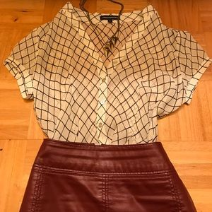 Express Tops - B&W Checkered Blouse