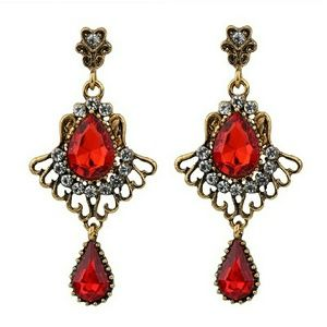 RED Drop Crystal Dangle Earrings