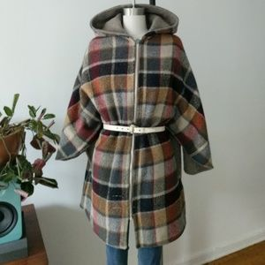 Reformation Jackets & Blazers - ♻️REAL VINTAGE- Plaid Pure WOOL CAPE PONCHO HOODED
