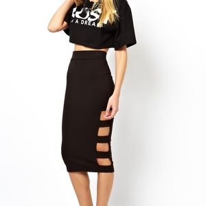 Asos Pencil Skirt with Slash Sides New with tag