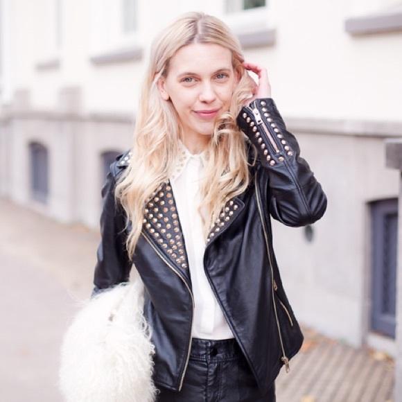 White leather studded jacket womens