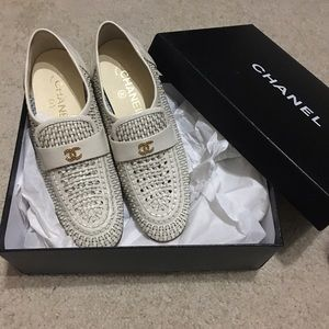 Chanel White 2016 CC Logo Weave Leather Loafers