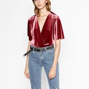 Zara Tops - Zara Special Edition Velvet Bodysuit