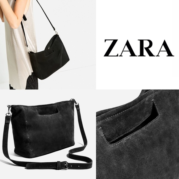 7047e978fb Zara Split Black Suede Leather Tote Crossbody Bag NWT