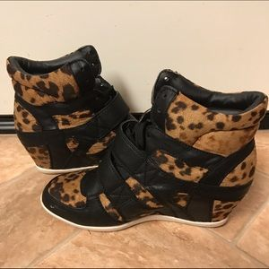 Shoes - Black leather leopard strappy sneaker wedges