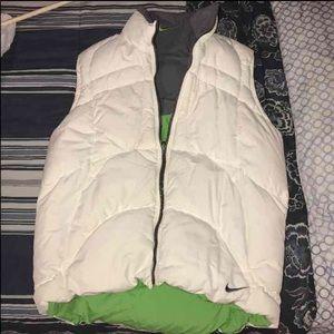 Reversible white/green Nike bubble vest Medium