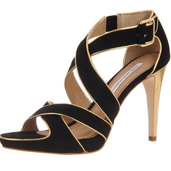 1e3b86b0478 Diane von Furstenberg Shoes - DVF Jodi Suede Platform Sandals Black Gold sz  7.5