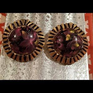 Jewelry - Vintage Purple Marble Clip on Earrings-Must See