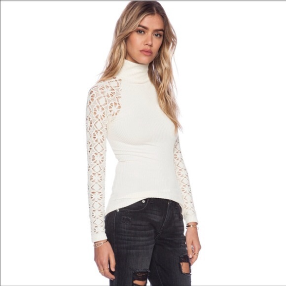 2b567dcaede86a Free People✨ Lace Long Sleeve Mock Turtleneck XS S