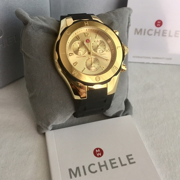 04904b52e MICHELE Tahitian Jelly Bean Watch in Black & Gold.  M_587f802778b31c59c1027844