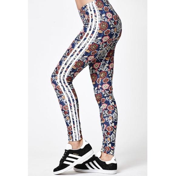 975510fa9840ee Adidas Pants   Cirandeira Navy Floral Leggings   Poshmark