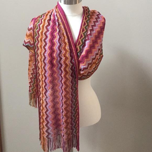 05da2a76b9b2e Anthropologie Accessories - Anthro Missoni luxe zig zag chevron metallic  scarf