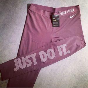 Nike Pro Dri-Fit Warm Just Do It Leggings Purple