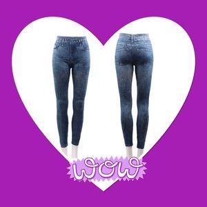 Pants - NWOT Blue jean look leggings