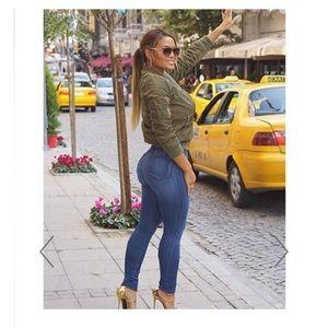 baa88ab1d235 Hot Miami Styles Jeans - Blue Medium Wash Denim High-Waist Skinny Jeans