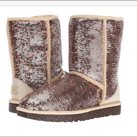 326a4ddd4fe UGG CLASSIC SHORT SPARKLES SEQUIN AUTUMN BROWN NEW