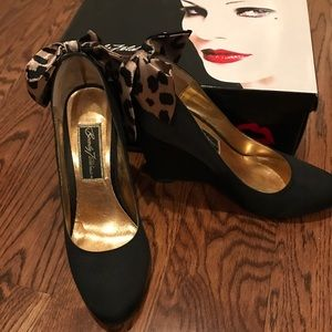 Beverly Feldman Shoes - Beverly Feldman Leopard Bow Wedges