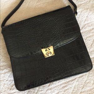 Handbags - Faux Crocodile Vintage Shoulder Bag Long Strap Blk