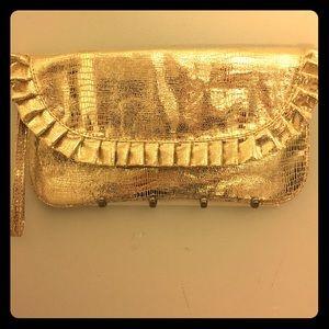 Steve Madden gold clutch wristlet