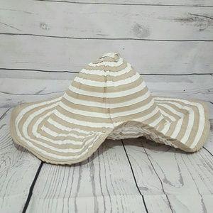 Tan & White Striped Floppy Hat