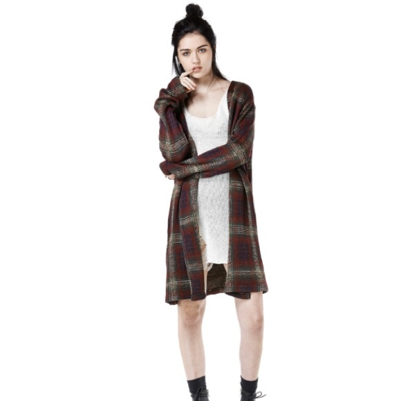 55% off UNIF Sweaters - NWOT UNIF Nevermind Duster Plaid Cardigan ...