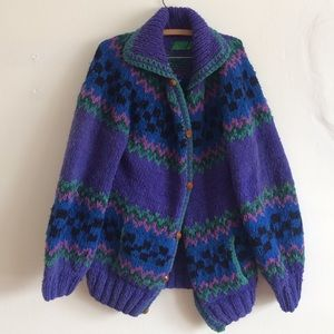 Vintage oversized chunky patterned sweater