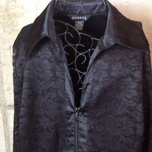 George black zip up top-jacket with lace Size XL