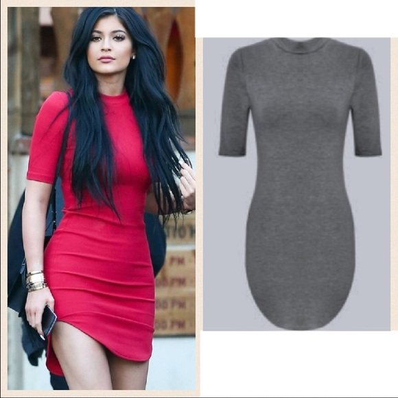 a823cd20036 Hot Miami styles grey Kylie Jenner hem mini dress