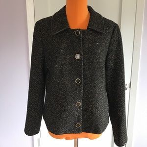 T Tahari Tweed Black and Gold  Button Jacket