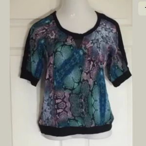 NY Collection Tops - NY Collection Lace Detail Snake Print Blouse Top