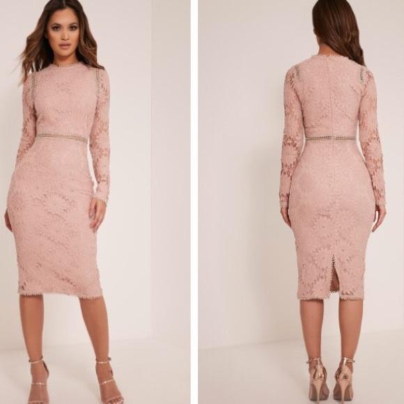 cc2df490fff PLT Caris DustyPink Long Sleeve Lace Bodycon Dress