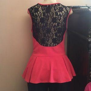 ABS Allen Schwartz Tops - Orange and Black Lace Peplum Top
