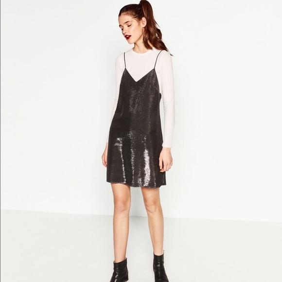 6d8b1144 Zara shiny slip dress. M_587fc38b99086ab80f000551