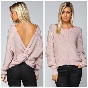 Dusty Mauve Twist Back Sweater S M L