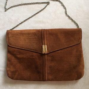 custom Handbags - Cinnamon suede shoulder bag.