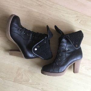 Wild Diva Shoes - Black Heeled Booties