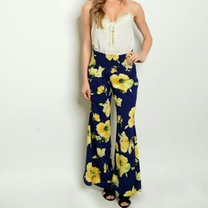Pants - 'YELLOW ROSE' Floral flared legged pants