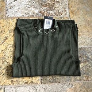 89th & Madison Tops - NWT Mock Turtle neck with silver grommets