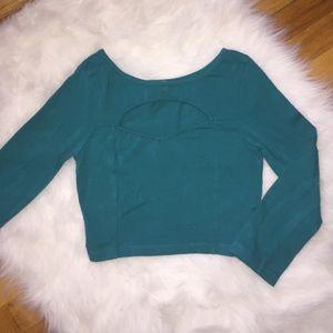 Forest Green Long Sleeve Crop Top W Cutout Chest