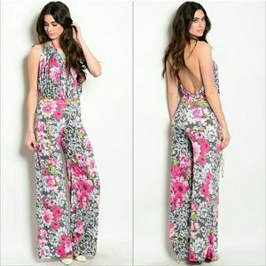 Pants - Lovely floral print jumpsuit NWOT